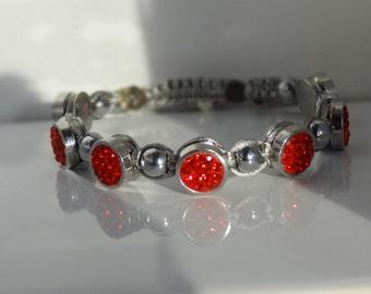 RedPave'  and Hematite Macrame Bracelet