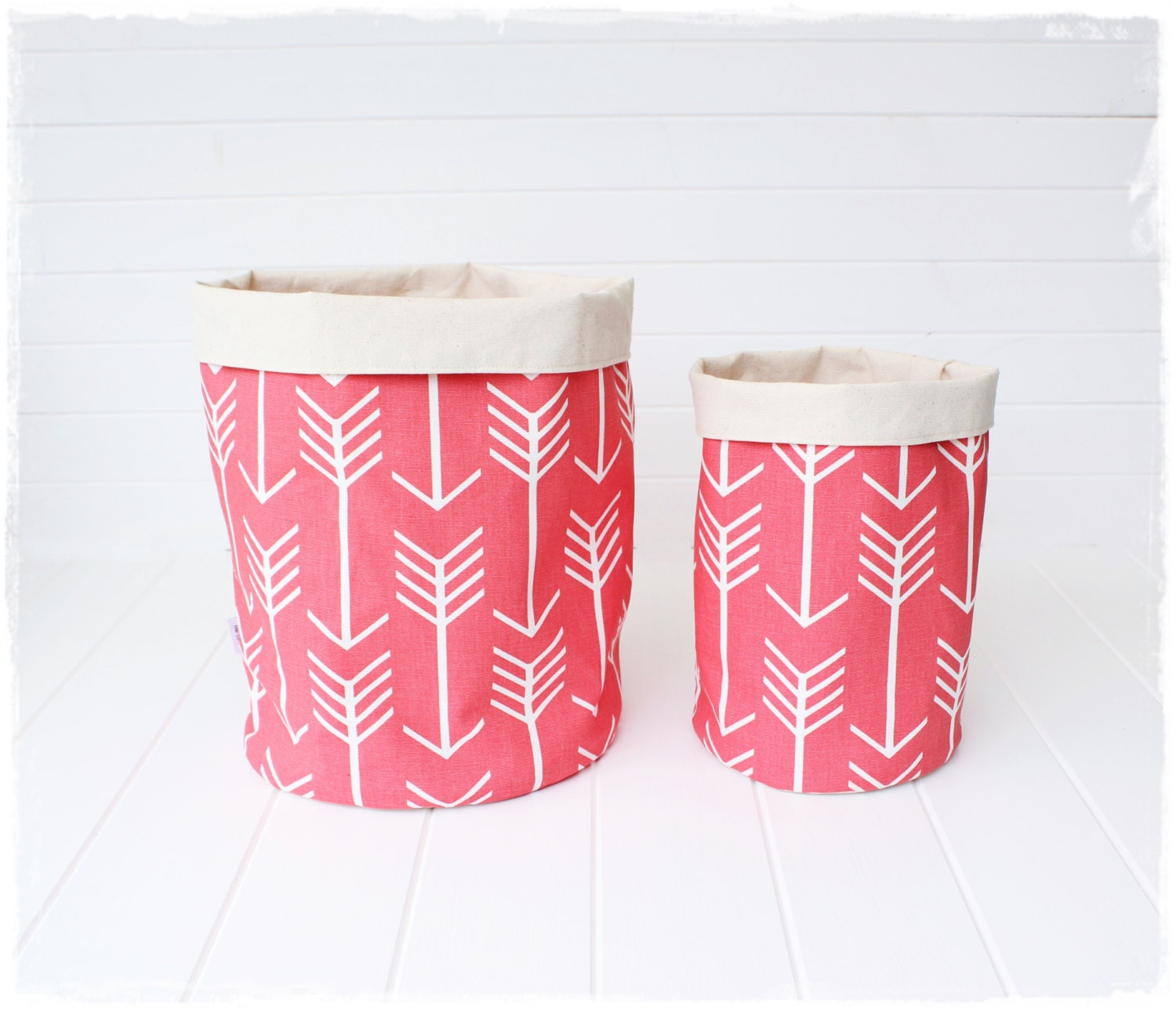 Handmade Fabric Storage Baskets : Coral arrows fabric storage baskets