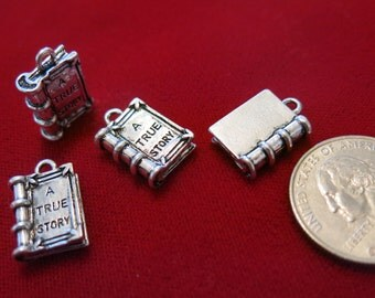 """5pc """"A true story book"""" charms in antique silver (BC451)"""