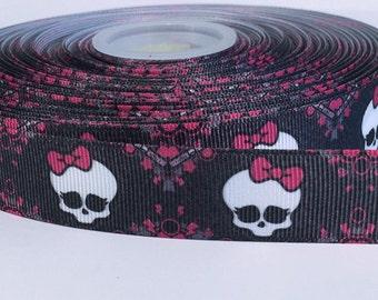 "5 yards of 7/8 inch ""Pink Skull"" grosgrain ribbon"