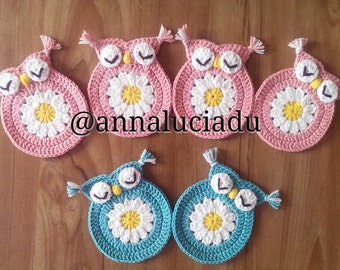 Crochet cute owl coaster PATTERN - INSTANT DOWNLOAD