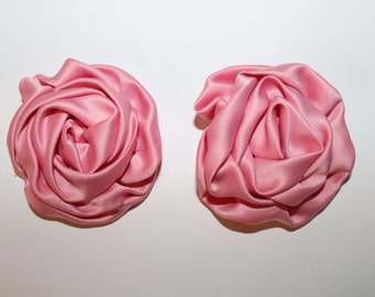 Pink Large Satin Roses- Set of 2