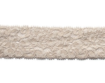 """1.5"""" Lace Elastic Taupe, Stretch Elastic, 5 or 10 Yards"""