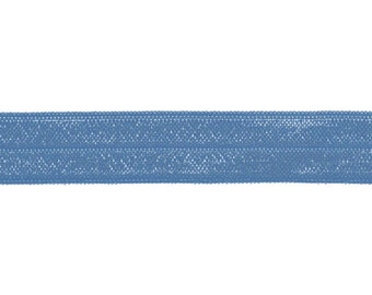 "5/8"" Smoke Blue Fold Over Elastic Shiny FOE 5/8"", trim, satin"