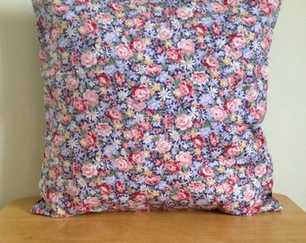 UNIQUE Navy Blue and Pink Vintage Floral Cushion COVER, Home Decor, Home Furnishings, Vintage Home Decor, Handmade Floral Decor