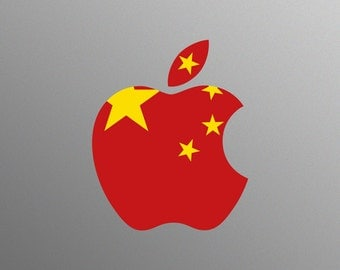 Chinese Flag Decal Sticker for Apple iMac Computer