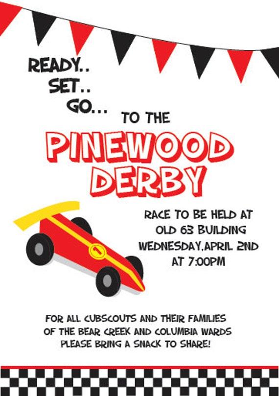 Custom Pinewood Derby Invitation// 5x7 by KatyPhotoandDesign