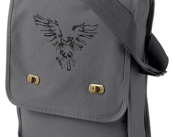 Owl Canvas Bag, Owl Field Bag, Owl Messenger Bag, Night Owl Embroidered Canvas Field Bag