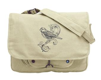 Fancy Flight Embroidered Canvas Messenger Bag