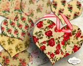 Rose Hearts - Digital Collage Sheet - Tags - Heart Shaped Tags - Hang Tags - Embellishment - Scrapbooking