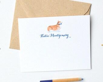 Corgi Dog Personalized Stationery Set | Corgi Personalized Note Cards | Corgi Dog Personalized Note Cards