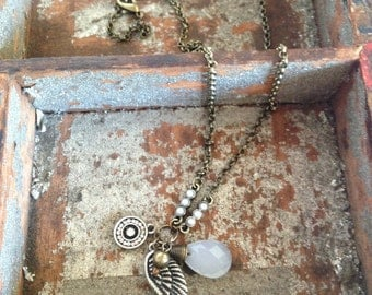 Bohemian Guardian Angel Wing Eclectic Charm Necklace by K'nique Jewelry