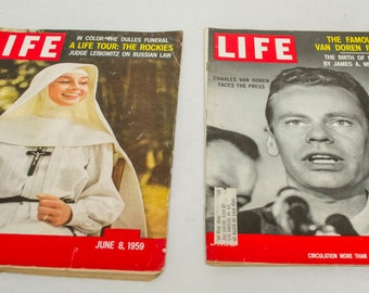Lot of 2 Life Magazines 1959 Audrey Hepburn in the Nun's Story and Charles Van Doren Faces the Press