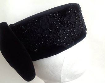Handmade black beaded lace ,lined pill box hat