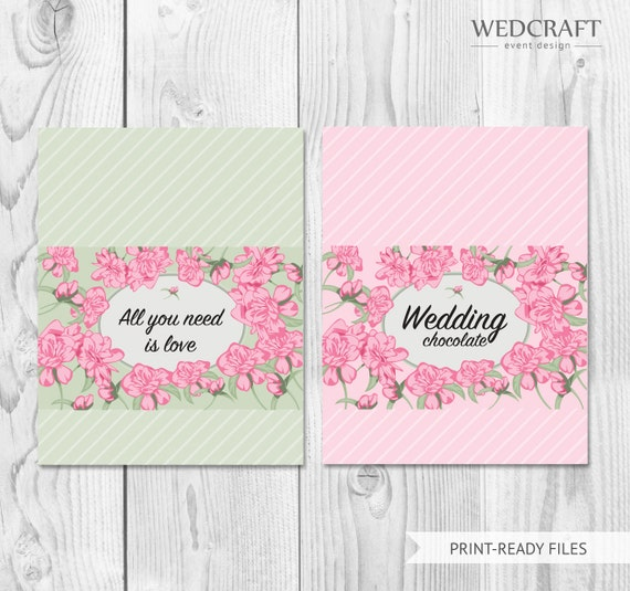 Wedding Candy Bar Wrapper Template Downloadable Candy