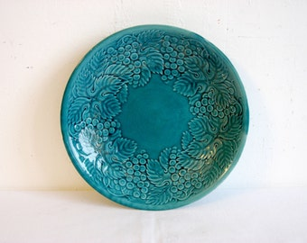 Antiquue pottery, glazed  emerald bowl, Soviet Vintage 1940s, Old Kitchenware  Bowl, celadon green, rare Collectible