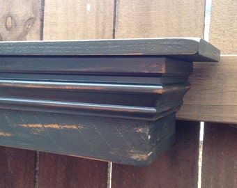 Mantle Shelf, Floating Mantle Shelf, Distressed Black Floating Shelf