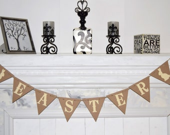 HAPPY EASTER Banner Rustic Style Banners for You Easter Party