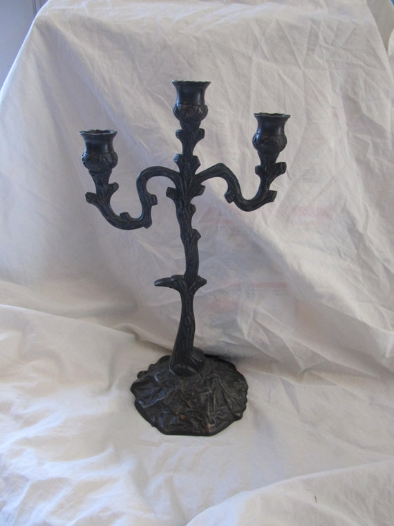 Gothic Black Cast Iron Spooky Tree Candelabra By