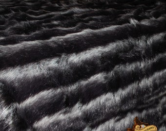 Plush Faux Fur Throw Blanket - Bedspread - Comforter - Black and Gray Stripe - Backed with Soft Minky Cuddle Fur - Fur Accents Original USA
