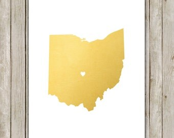 8x10 Ohio State Print, Geography State Print, Metallic Gold Printable Art, Ohio Poster, Office Art, Home Decor, Instant Digital Download