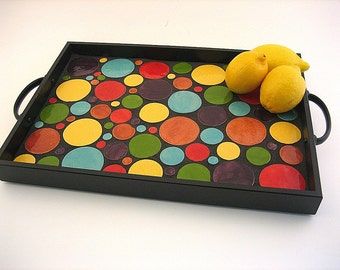 Ceramic Tile Serving Tray, Bright Colors