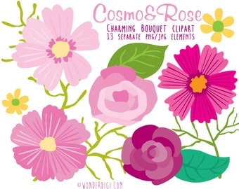 Flower clip art - Clipart Rose & Cosmos Flowers Bouquet- Floral Collection for Weddings Scrapbooking Invitations