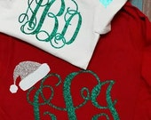 Santa Hat Glitter Christmas Monogram (Youth and Toddler Long Sleeve)