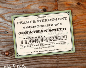 Feast and Merriment Birthday Digital Invitation