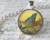 """EMILY DICKINSON quote """" Hope is the Thing with Feathers."""" Necklace Quote Glass Pendant Literary Quote handmade Pendant Literary Jewelry"""