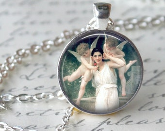 Whimsical Angels Pendant Necklace  Holy Angels  Art Necklace Handmade Pendant Church faith Hope (208)