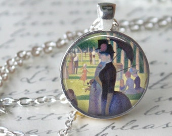 SEURAT  Pendant Necklace - A Sunday Afternoon on the Island of La Grande Jatte - Keepsake Glass pendant Necklace Jewerly (207)
