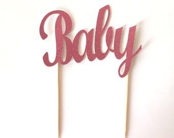 Light Dusty Pink Glitter Baby Cake Topper / Baby Shower Cake Topper