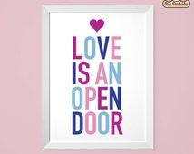 Frozen inspired - Love Is An Open Door - Child's bedroom printable typographic wall art. Instant download. Frozen theme colors. PDF.