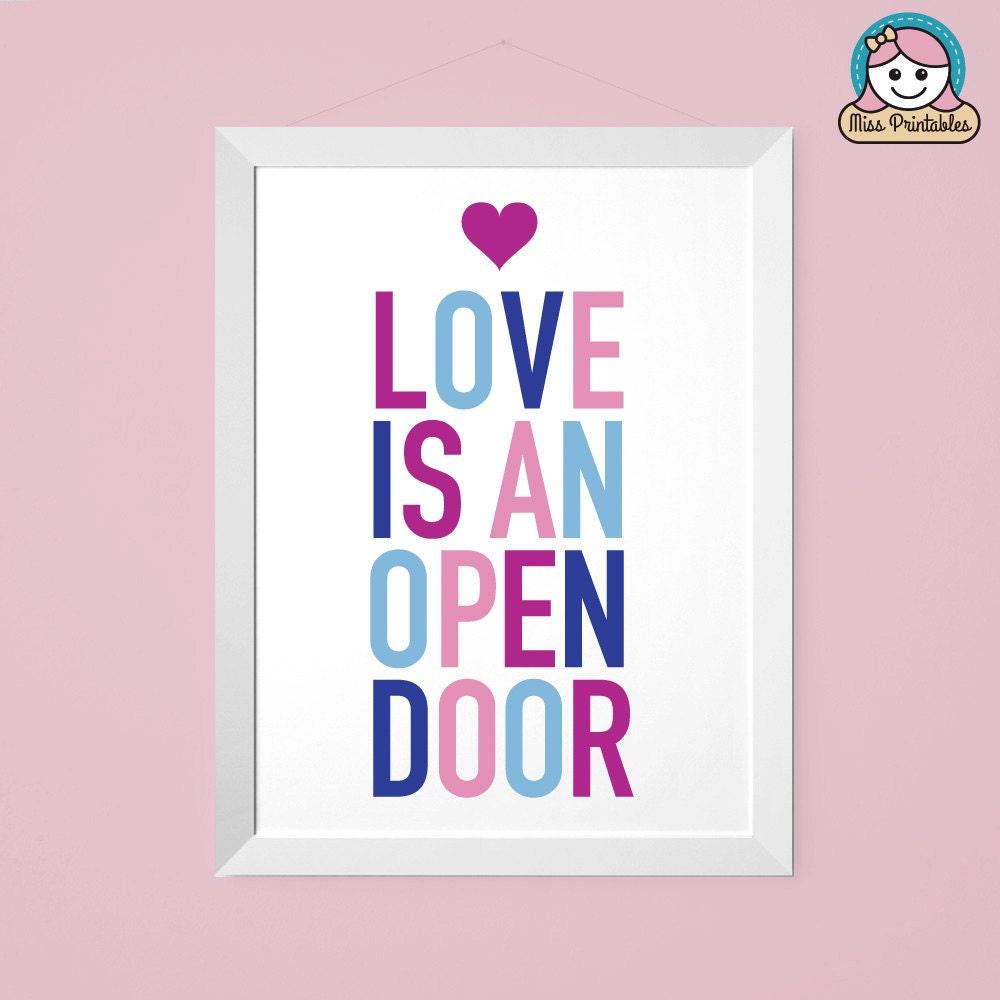 Frozen inspired bedroom - Frozen Inspired Love Is An Open Door Child S Bedroom Printable Typographic Wall Art