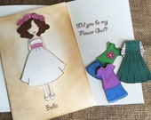 Personalized Flower Girl Paper Doll Cards, Flower Girl Gift Bridal Party, Rustic Wedding, Card Kraft