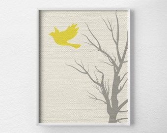 Modern Bird Art, Tree Wall Art, Modern Home Decor, Nursery Decor, Modern Art Print, Nature Art Print, Minimalist Art, Yellow and Gray, 0242
