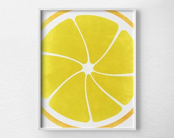 Lemon Print, Citrus Print, Citrus Decor, Fruit Kitchen Art, Kitchen Decor, Kitchen Poster, Food Art, Kitchen Print, Yellow Art, 0087