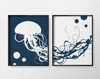 Jellyfish Art Print, Jellyfish Print, Jellyfish Poster, Nautical Decor, Marine Life, Nautical Art, Nautical Bathroom, Nautical Print, 0119