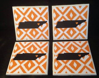 Set of 4 Ikat-Style University of Tennessee Vols Coasters
