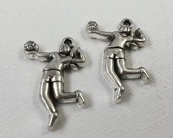 25pcs  Wholesale Tibetan Silver Color ~Volleyball  Charms  -Volleyball  Charms   Volleyball Necklace