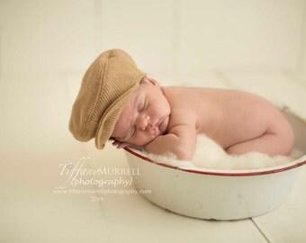 Newsboy Hat / Newsboy Cap - Caramel Knit Wool - Size 0-3 Months  - Newborn Photography Prop - Ready to SHIP