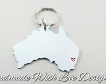 Country / county / map / place Shape Hand Stamped Keyring