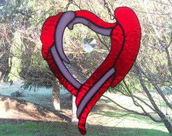 Pink and Red Heart Shaped Suncatcher with Crystal Heart~Valentines