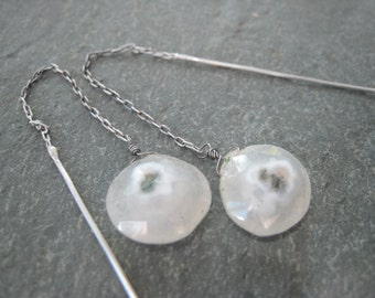 Sterling silver thread earrings. Semiprecious faceted teardrop stones.