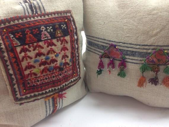 Custom Throw pillows Ethnographic embellishment Down