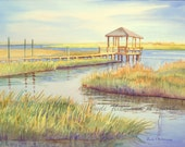 Wrightsville Beach Wilmington NC  Summer Rest Road watercolor painting commission local artist on location or from photographs acrylic pen