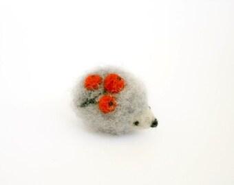 Hedgehog brooch, Felt animals, Needle felt hedgehog, Grey and Red, Stuffed animals hedgehog, Hedgehog accessories, Nature inspired brooch