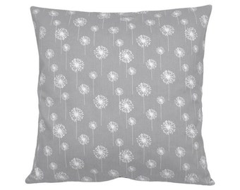 Cushion cover 50 x 50 cm grey white DANDELION flower