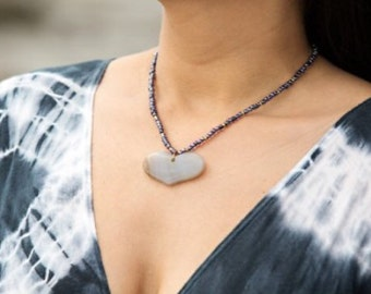 Indian Jasper Heart Necklace.